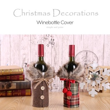 Zarte Weihnachtsdekoration Winebottle Cover New Style Festival Dekoration Requisiten Bowknot Red Grid Leinen Winebottle Cover