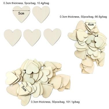 50 Stücke 50mm Holz Herzen Scheiben für DIY Scrapbooking Handwerk Hochzeit Partys Ornamente