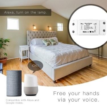 90-250V Smart Switch Lichtschalter Sprachsteuerung Kompatibel mit Alexa Google Assistant Wifi APP Timer Countdown-Funktion für die Fernbedienung