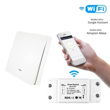 90-250V Smart Switch Light Switch Voice Control Compatible Alexa Google Assistant Wifi APP Remote Control Timer Countdown Function