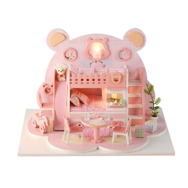 DIY Miniature Dollhouse with Furniture and LED Lights Pink Bear 3D Wooden Doll House