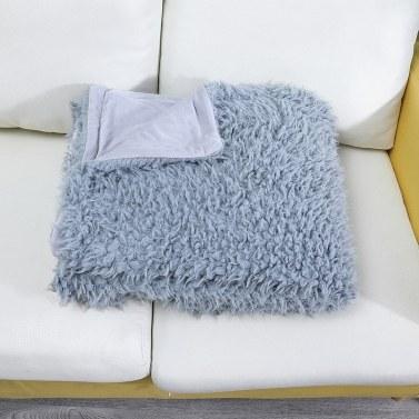 ABODY Long Fur Throw Blanket Faux Fluffy Blanket