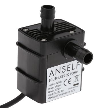 Anself Ultra-quiet Mini DC12V 9W Micro Brushless Water Oil Pump Waterproof Submersible Fountain Aquarium Circulating 300L/H Lift 450cm