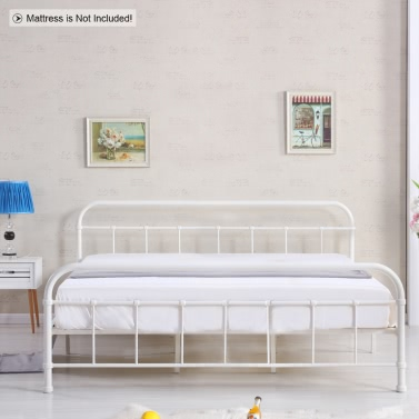 iKayaa Contemporary Metal Platform Bed Frame Wood Slats Full/Queen/King/California Sized Mattress Foundation + Headboard & Footboard Bedroom Furniture