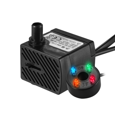 180L/H 2.5W Submersible Water Pump with 4 LED Light Ultra Quiet for Pond Aquarium Fish Tank Tabletop Fountain Hydroponics 4.9ft (1.5m) Power Cord