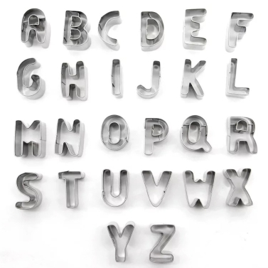 26pcs Stainless Steel Alphabet Letters Biscuit Cutters DIY 3D Cookies Molds Mini A-Z Shaped Mould Decorating Tool Bakware Kitchen Fondant Decoration Tools