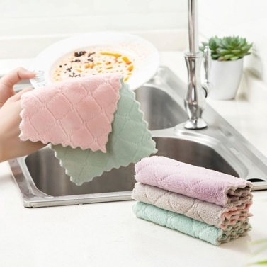 Multifunctional Comfortable Cleaning Kitchen Double Layers Strong Absorbent Dish Washing Rag Thick Simple Dishcloth
