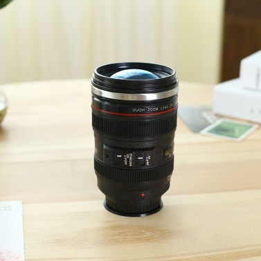 400ML Camera Lens Coffee Mug Stainless Steel Sealed with Lid Photographer Camera Mug