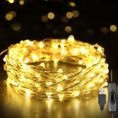 Luzes de Fadas 12m 120 LEDs Luzes de Cordas USB IP65 À Prova D 'Água Branco Quente para Natal, Casamento, Interior / Exterior-Fio de Prata