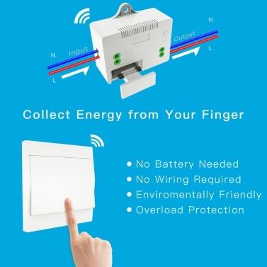 110-230V Wireless-Lichtschalter und Empfänger-Kit Selbstversorgender Schalter Fernbedienungsbeleuchtung