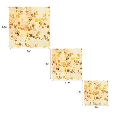 3-teilige wiederverwendbare Bienenwachs-Lebensmittelverpackung Bienenwachsverpackung Umweltfreundliche Bio-Bienenwachs-Lebensmittelverpackung Cling Sandwich Nachwaschbar hält die Produkte frisch