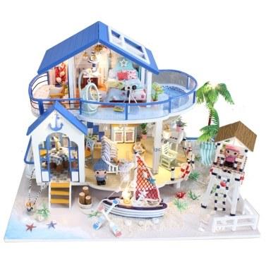 Puppenhaus Miniatur DIY Mini Haus Kit mit LED-Leuchten und Möbeln für Geschenkset