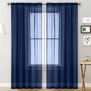 Sheer Curtains Living Room Rod Pocket Window Curtain Panels Black (39