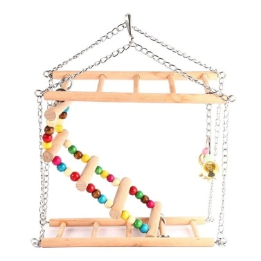 Wood Bird Ladder for Parrots Pet Hanging 2-Layer Suspension Bridge Steps Stairs