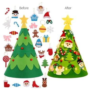 28Pcs Felt Christmas Tree Decoration Set Kids Xmas Gift
