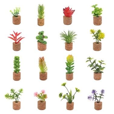 16 unidades de magnéticos de mini plantas suculentas artificiais