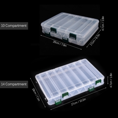 Double Sided High Strength Transparent Visible Plastic Fishing Lure Box 14 Compartments with Drain Hole Fishing Tackle
