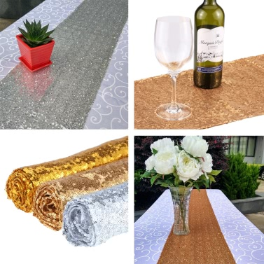 30 * 275cm / 1 * 9ft Sparkly Glitz Sequin Table Runner for Festive Celebrations Event Wedding Party