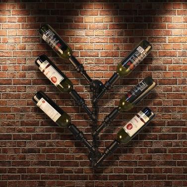 IKayaa Industrial 6 Flasche Wandhalterung Weinregal Metallhängende Flaschenhalter Steampunk Pipe Design