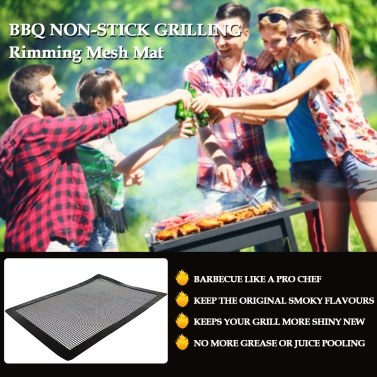 BBQ Grill Mesh Mat Non-stick Grilling Mat Rimming Mesh Mat On Grate Oven for Barbecue Fish Meat Vegetables