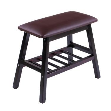 50CM Double Tier Wooden Shoe Rack Shoe Bench 2 Tier Layer Shoes Storage Organizer Storage Shelf with Soft Seat Cushion