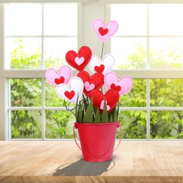 DIY Manual Cotton Stuffing Small Loving Heart Flowerpot Decoration Valentine