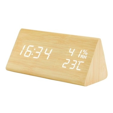 YJ-5038 Triangular Wooden Alarm Clock