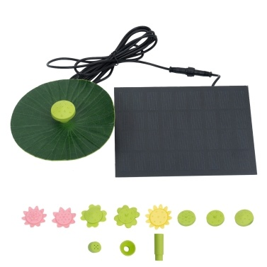 Solar Fountain with Fake Lotus Leaf 9 Nozzles Summer Flower Shaped Water Pump