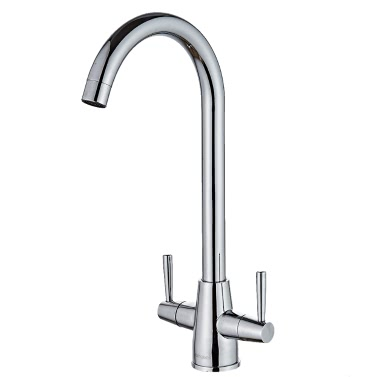 Homgeek Modern High-quality Double Handle Hot and Cold Water Deck Mount Kitchen Faucet Swivel Spout Brass Chromed Polished Sink Basin Tap Home Hotel