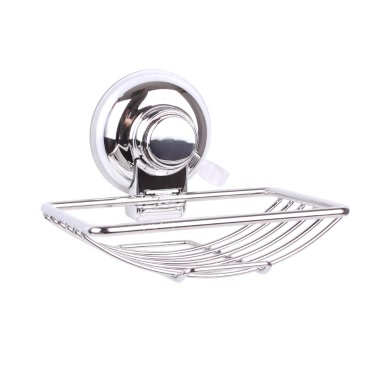 Rust-resistant Stainless Steel Wall-mounted Soap Dish Holder Saver Basket Strong Vacuum Suction Cup Bathroom Toilet Shower