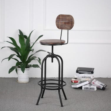 iKayaa Industrial Style Bar Stool Height Adjustable Swivel Kitchen Dining Chair Pinewood Top + Metal Backrest