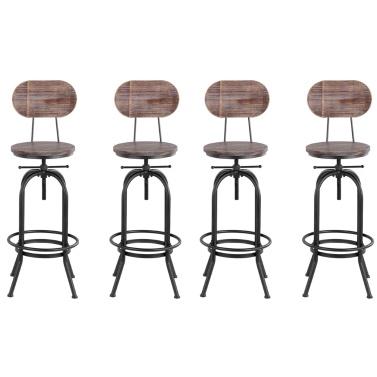 iKayaa Industrial Style Bar Stool Height Adjustable Swivel Kitchen Dining Chair Pinewood Top + Metal Backrest