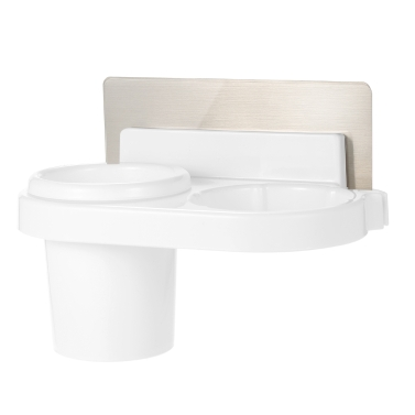 Esonmus Plastic Multifunctional Bathroom Self Adhesive Wall Hair Dryer Holder Organizer Toothbrush Storage Rack Sticker--White