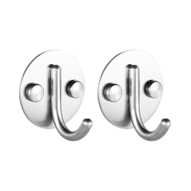 2pcs/set SS Wall-mounted Hooks Stainless Steel Hooks Space-saving Single Wall Hook Multifunctional Clothes Hook Single Hook Set