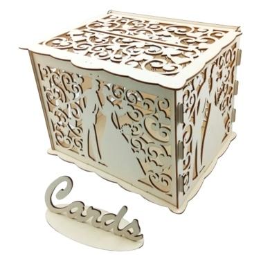 Hölzerne Hochzeit Umschlag Geschenkkarte Box Hohl Blumenmuster Einladungskarte DIY Box Hochzeit Supplies