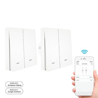 90-250V Wifi Smart Switch Wall Switch Voice Control Compatible Alexa Google Assistant APP Remote Control Timer Countdown Function