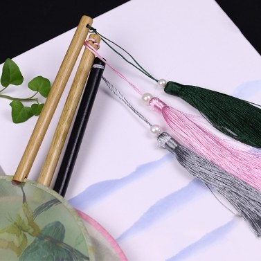 Round Double-Sided Pattern Chinese Ancient Hand Fan Dance Handheld Fan Bamboo Handle with Tassel Home Decoration