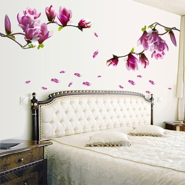 Lily Flowers Wall Decals Live Gallery Beautiful Lovely Removable DIY Art Decor Wall Stickers Murals for Living Room TV Background Kids Girls Rooms Bedroom Decoration