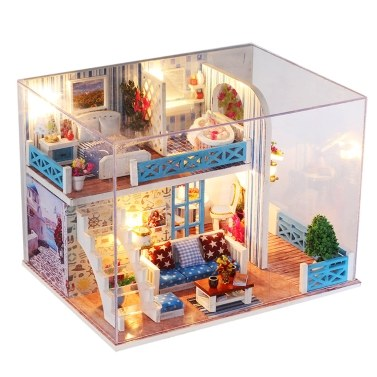 DIY Miniature Dollhouse with Furniture and LED Lights 3D Wooden Doll House