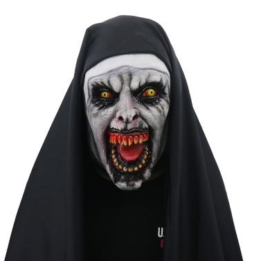 Máscara de Devil Cosplay Freira Valak com Capuz Full Head conjurando Máscara Assustadora Traje de Festa de Halloween