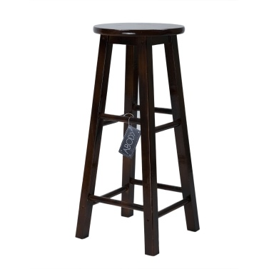 ABODY  Bar Stool Counter Stool Solid Wooden Stool Retro Chair Square Leg  28inch Brown