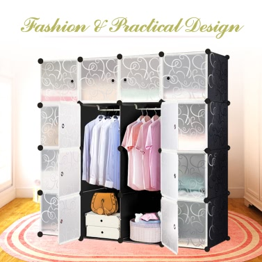 iKayaa Large Fashion Multi-use Clothes Closet Wardrobe Cabinet DIY Cloth Shoes Storage Organizer