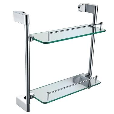 Homgeek High-quality Multi-use Chromed Stainless Steel Glass Bathroom Kitchen Storage Rack Double-layer Shelf Wall Mount Organizer Holder Household Hotel