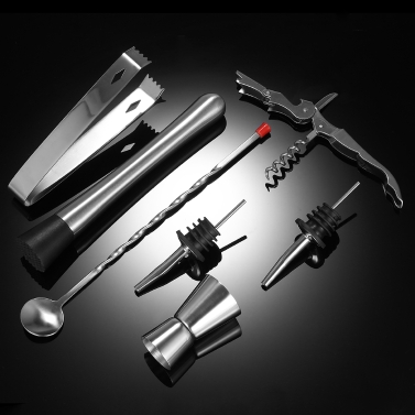 8pcs Stainless Steel Professional 350ml Cocktail Shaker Mixer Kit with Muddler Corkscrew Jigger Ice Tongs Mixing Spoon Pourers Bartender Set Home Bar Tool