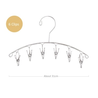 Clothes Hanger 6 Clips Stainless Steel