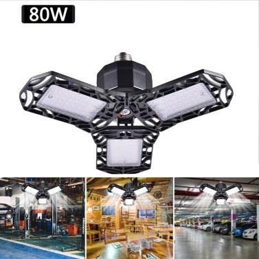 LED Garagenlicht Faltbare verformbare Garagendeckenleuchte 3 Panel 80W 72LED 8000LM Dreiblattiges Dreifachglühen 85-265V