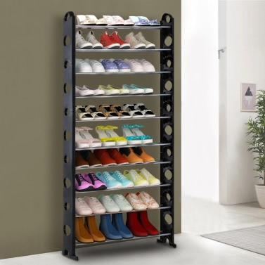 iKayaa Portable 10 Tier Standing Shoe Rack Organizer Tower Stackable Shoes Storage Shelf Cabinet 40 Pairs Shoes Free Combinition