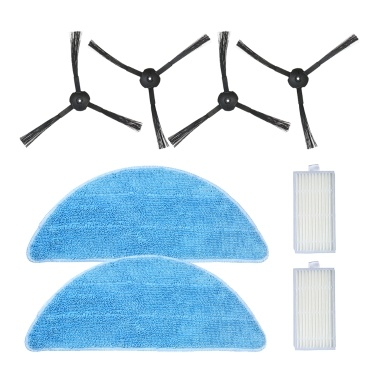 Pack 8 Replacement Accessories Kit Mops + Side Brushes + HEPA Filters ILIFE V5S V3S V3 V5 Pro Robotic Vacuum Cleaner