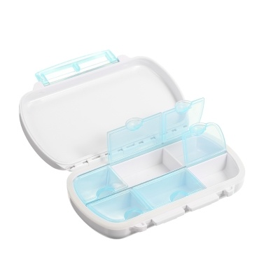 Folding 6 Compartment Medicine Organizer Box Portable Pill Case Vitamin Storage Container Travel Purse