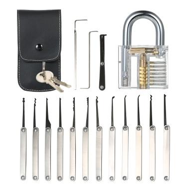15pcs Lock Picking Set Kit Tool mit transparenten Praxis Training Vorhängeschloss Schloss für Schlosser Anfänger und Profis